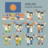 Asean people. In traditional costume with flag Royalty Free Stock Photos
