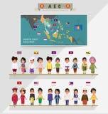 ASEAN-pojkar och flickor i traditionell dräkt med flaggan Royaltyfri Bild
