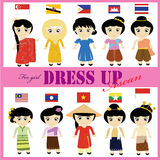 ASEAN traditional dress for girl AEC. Traditional dress for female from each countries in AEC union Royalty Free Stock Image