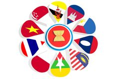 ASEAN union members national flags Royalty Free Stock Images