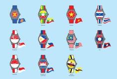 ASEAN van pictogramwatch&flag (ASEAN-Gemeenschap) Royalty-vrije Stock Afbeelding