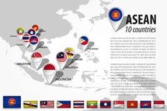 ASEAN-Vereniging van de Zuidoostaziatische Naties en GPS-speld van de navigatorplaats met de vlag van het land van lidmaatschap o royalty-vrije illustratie