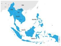ASEAN wspólnota gospodarcza, AEC, mapa Siwieje mapę z błękitem podkreślającym Obraz Stock