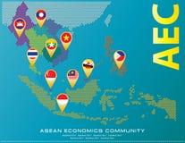 Asean zeichnen punktierte Artillustration, für Hintergrund auf Lizenzfreies Stockfoto
