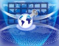 Asegure el clave global de la tecnología de la información stock de ilustración
