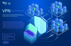 Asegure el concepto virtual de la red privada Ejemplo isométrico del vector del servicio del vpn libre illustration