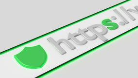 Asegure la barra del navegador de la conexión a internet de los https Imagenes de archivo