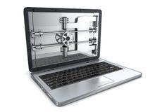 Asegure la computadora portátil Fotos de archivo libres de regalías