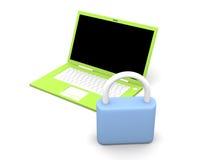 Asegure la computadora portátil Imagen de archivo libre de regalías