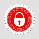 Asegure la escritura de la etiqueta de la muestra del bloqueo Imagen de archivo