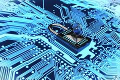 Asegure la representación del circuito electrónico 3D foto de archivo libre de regalías