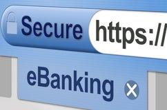 Asegure las actividades bancarias en línea - eBanking Fotos de archivo libres de regalías