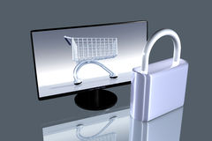 Asegure las compras en línea Foto de archivo libre de regalías