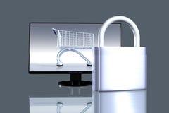 Asegure las compras en línea Fotografía de archivo libre de regalías