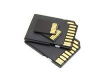 Asegure las tarjetas de memoria de Digitaces Foto de archivo