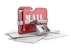 Asegure los datos del correo electrónico. icono 3D   Foto de archivo libre de regalías