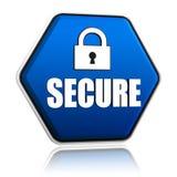 Asegure y padlock la muestra en bandera azul del hexágono Fotos de archivo libres de regalías