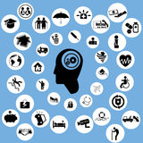Asekuracyjne ikony i myśl Fotografia Stock