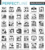 Asekuracyjni czarni mini pojęcie symbole Wypadkowego ochrony ikony nowożytnego piktograma wektorowe ilustracje ustawiać royalty ilustracja
