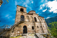 Asen`s Fortress. Asenova krepost, is a medieval fortress in the Bulgarian Rhodope Mountains, located on the top of a high rocky ridge on the left bank of the royalty free stock photo