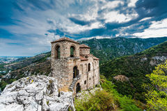 Asen`s Fortress. Asenova krepost, is a medieval fortress in the Bulgarian Rhodope Mountains, located on the top of a high rocky ridge on the left bank of the royalty free stock photography