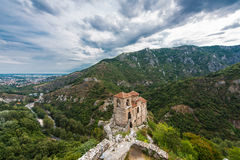 Asen`s Fortress. Asenova krepost, is a medieval fortress in the Bulgarian Rhodope Mountains, located on the top of a high rocky ridge on the left bank of the stock photography