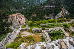 Asen`s Fortress. Asenova krepost, is a medieval fortress in the Bulgarian Rhodope Mountains, located on the top of a high rocky ridge on the left bank of the stock photos
