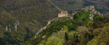 Asen`s Fortress is a medieval fortress in the Bulgarian Stock Photo