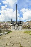 Asenevtsi monument in Veliko Tarnovo surrounding by traditional houses royalty free stock photo