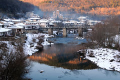 Asenovdistrict van Veliko Tarnovo in de Winter Royalty-vrije Stock Foto's