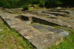 Asentamient de la edad de bronce Era un puerto comercial en la era romana, llamada Castro Of The Castros In Taramundi, Asturias,  foto de archivo libre de regalías