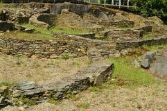 Asentamient de la edad de bronce Era un puerto comercial en la era romana, llamada Castro Of The Castros In Taramundi, Asturias,  foto de archivo