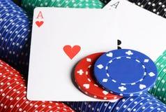 2 ases и обломока казино Стоковые Изображения
