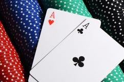 2 ases и обломока казино Стоковое Изображение RF