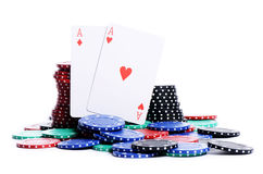 Two ases and casino chips Royalty Free Stock Images
