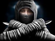 Asesino de sexo femenino que se desliza de las sombras que se cierran en nuestra su blanco stock de ilustración