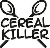 Asesino del cereal con las cucharas stock de ilustración