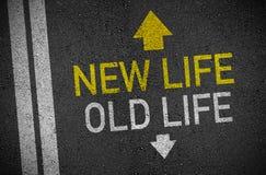 Asfalt med gammalt liv och nytt liv stock illustrationer