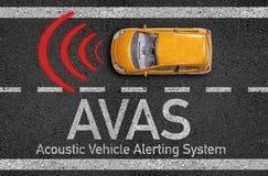 Asfalt med miniatyrbilen och medlet för AVAS som akustiska larmar systemet stock illustrationer