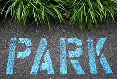 Asfalt som målas med, parkerar i blått arkivfoton