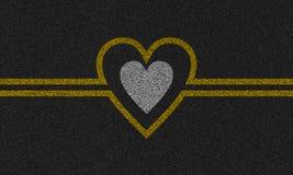 Asfaltachtergrond met geschilderd hart Royalty-vrije Stock Afbeelding