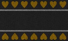 Asfaltachtergrond met geschilderde harten Stock Afbeeldingen