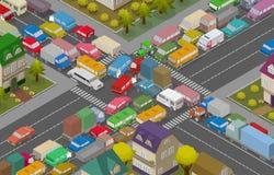 asfaltbilar sitter fast den seamless trafikvektorwallpaperen Isometriska bilar och hus för illustration av den upptagna vägen royaltyfri illustrationer
