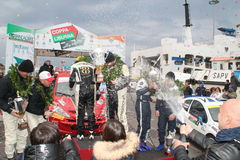 Asfalti la tazza Liburna, i vincitori, squadra di raduno del podio Fotografie Stock