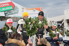 Asfalti la tazza Liburna, i vincitori, squadra di raduno del podio Fotografia Stock