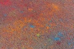 Asfalto colorido después del festival de Holi Imágenes de archivo libres de regalías