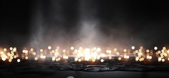 Asfalto mojado, reflexión de las luces de neón, un reflector, humo Luz abstracta en una calle vacía oscura con el humo, niebla co foto de archivo libre de regalías