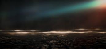 Asfalto molhado, reflexão das luzes de néon, um holofote, fumo Luz abstrata em uma rua vazia escura com fumo, poluição atmosféric ilustração stock