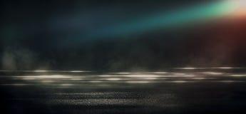 Asfalto molhado, reflexão das luzes de néon, um holofote, fumo Luz abstrata em uma rua vazia escura com fumo, poluição atmosféric ilustração royalty free
