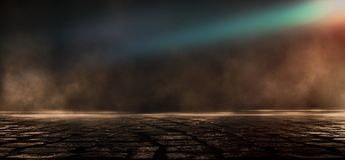 Asfalto molhado, reflexão das luzes de néon, um holofote, fumo Luz abstrata em uma rua vazia escura com fumo, poluição atmosféric ilustração do vetor
